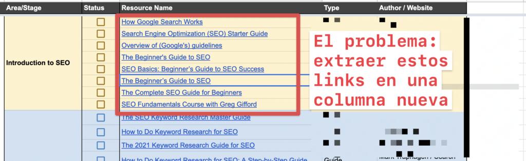 Extraer links de celda en google spreadsheets a una nueva columna